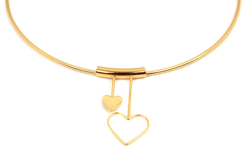 (1-6279-j8) Gold Plated Hard Wire Heart Choker, 16