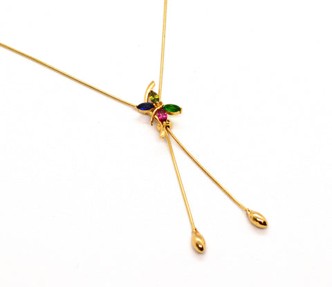 (1-6471-A-J2) Gold Plated Bolo Tie Design Dragonfly Necklace.