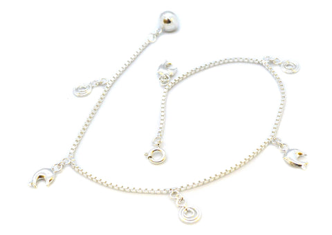 (2-0157-j8) Sterling Silver Bells Swirls and Dolphins Charm Anklet, 10