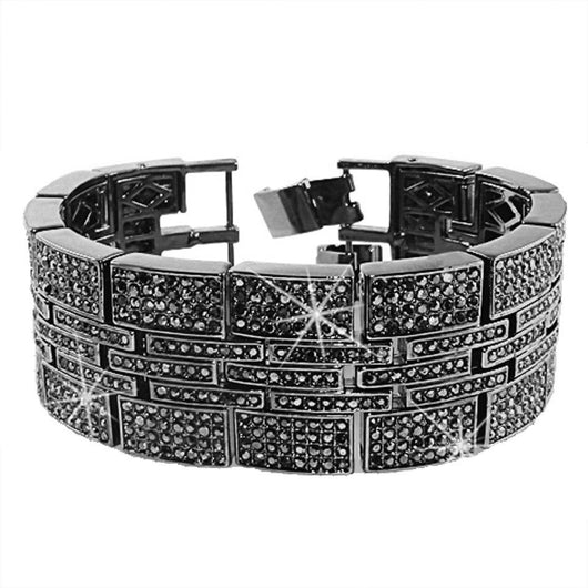 Jumbo Multi Ice Link Black Bracelet