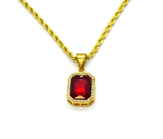 (4-7016-j6) Gold Plated over Stainless Steel Red Pendant Necklace, 24