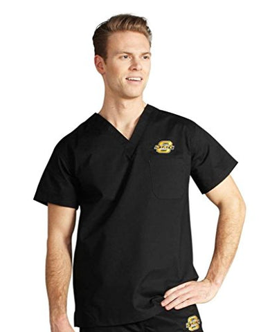 IguanaMed Unisex Collegiate Pocket MedFlex II Scrub Top, Carbon Black-Oklahoma St, S: Clothing