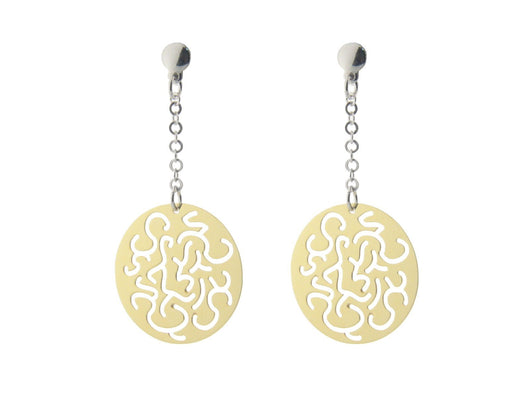Sterling Silver Earring Dangling  Filigree Discs Gold Plated  .75