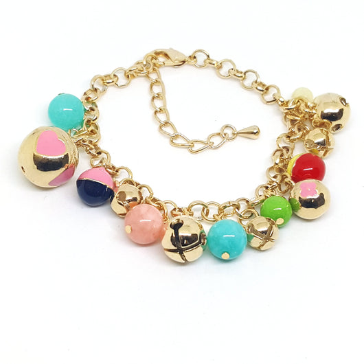 MBRA-011218-H1 Gold Plated Colorful Charm Bracelet.