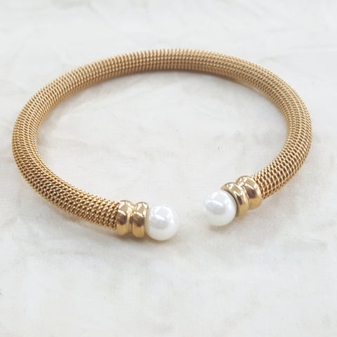 4-5001-h2 Gold Plated Over Steel Balance Bangle with Pearls.
