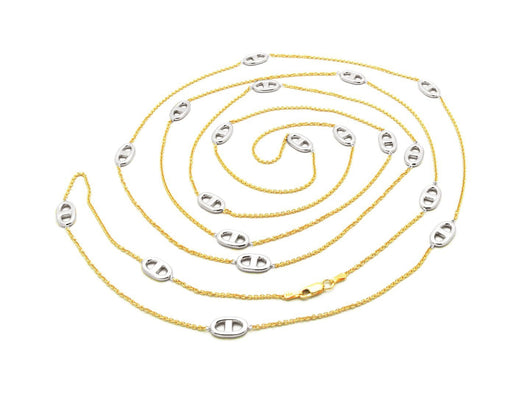 Long Two Tone Marine Link Necklace, 58