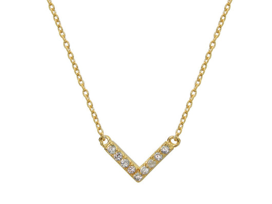Sparkling CZ Gold Chevron Necklace