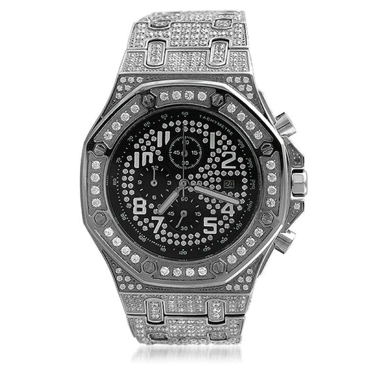 Octagon CZ Bling Stainless Steel Watch