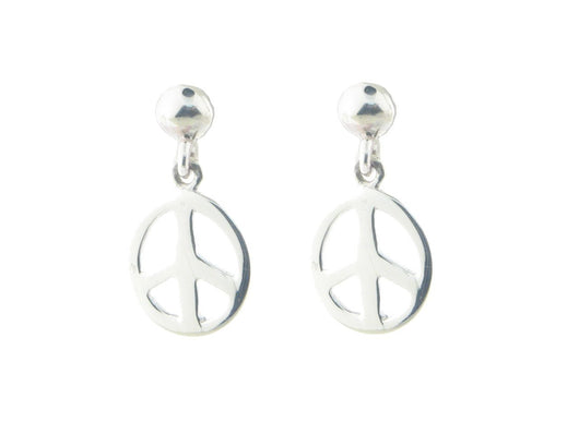 Sterling Silver Dangling Peace Sign Earrings