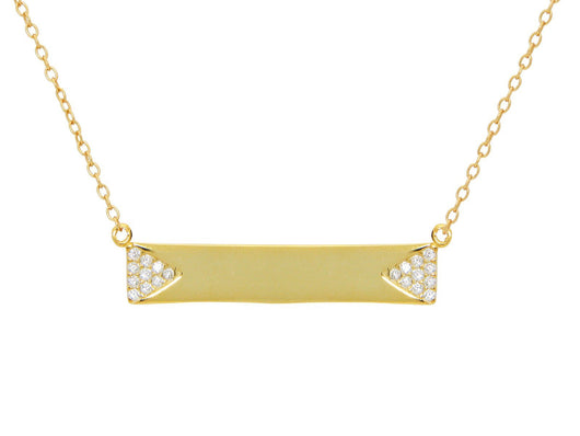 Sparkling Triangles Engravable Gold Plated Bar Necklace
