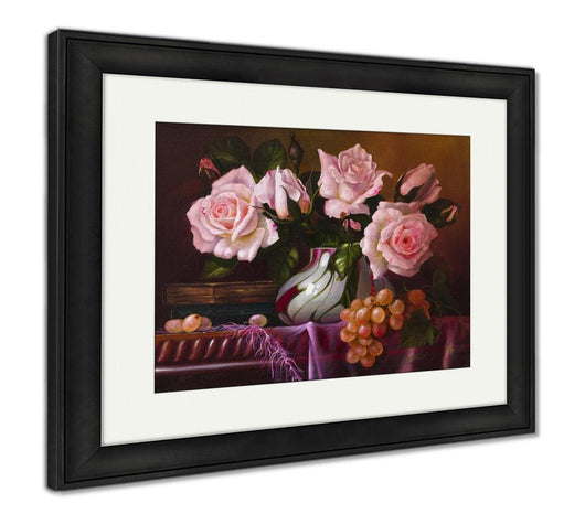 Framed Print, Oil Painting With Flowers Roses Still Life Painting