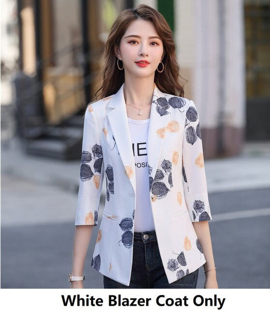 Fashion Printed Half Sleeve Women 2020 Spring Summer Blazer