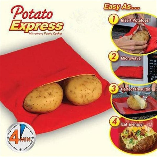 New Red Washable Microwave Cooking Potato Bag