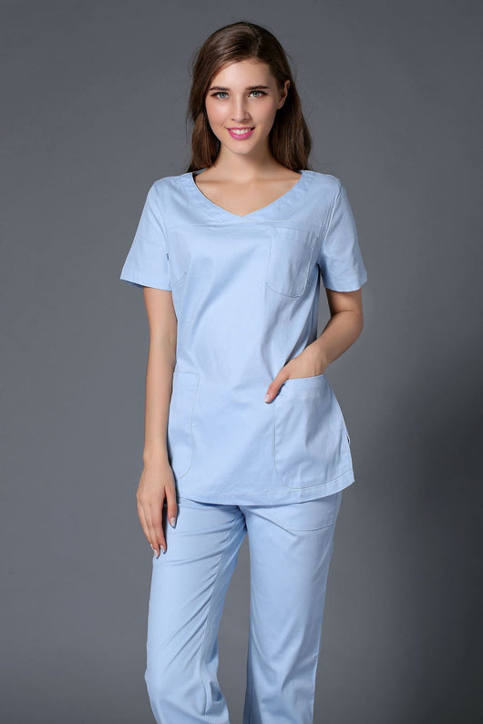 Lab Coat Surgical Cap 2016 New Arrival 100% Cotton Sweet Color Young Women Hospital Medical Scrub Clothes Uniform Set Slim Fit