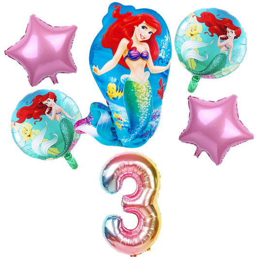 6 pcs Mermaid Ariel foil balloons