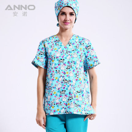 Hospital Man Woman Hospital Medical Scrub Top V Neck Printing Color Pet Doctors Operation Top Uniform ONLY SHIRT