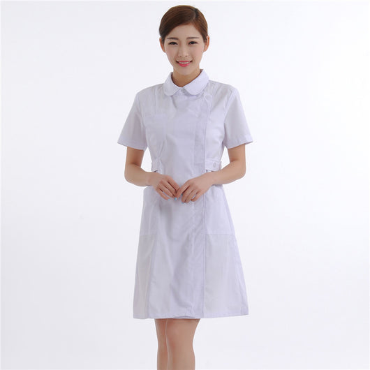 New Women Medical Lab Coats Doctor Nurse Uniform Hospital Nursing Scrub Overalls Short Sleeve Pharmist Workwear White