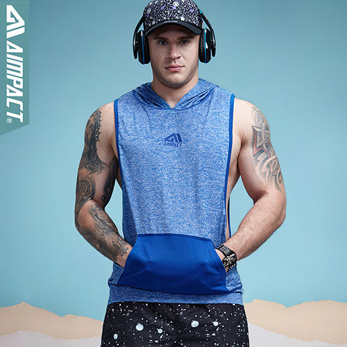 Aimpact Men's Tank Top Hoodie Fitness Bodybuilding Muscle Cut Stringer Tee Crossfit Workout Top Activewear Singlets Male 2AM1008