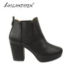 LOSLANDIFEN Winter Soft Leather Women OfficeThick Heel Ankle Boots