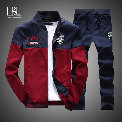 2019 New Men Fashion Sporting Brand Patchwork Tracksuit