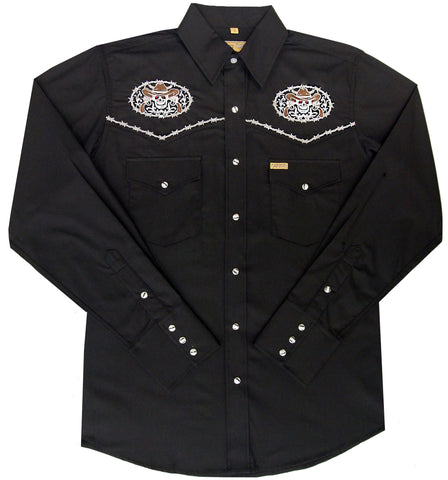 Mens Embroid <br>Skull/Pistols<br>  114-1802