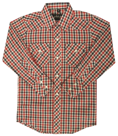 Childrens L/S 65/35 Plaid, Red/Navy 331-1131