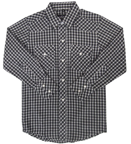 Childrens L/S 65/35 Plaid, Black/White 331-1132