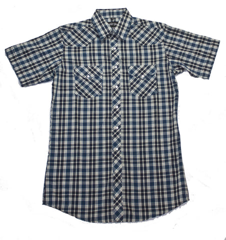 Mens S/S 65/35 Plaid, Red/Blk 431-1112X