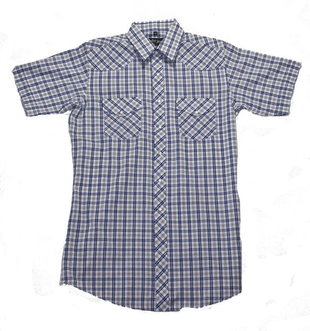 Mens S/S 65/35 Plaid, Blue/Tan 431-1129X