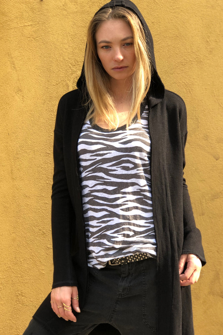 Wrap yourself in Ivory or Black  Long Hooded Japanese thread cardigan
