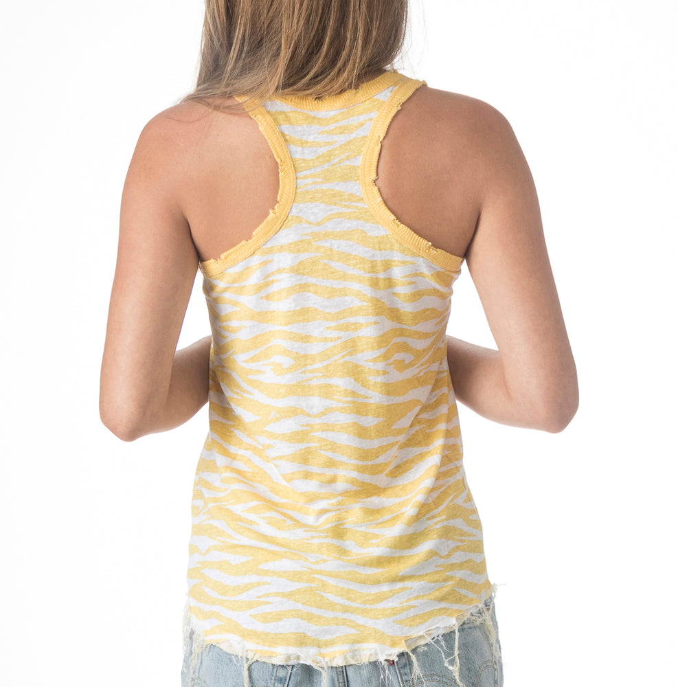 Load image into Gallery viewer, Zebra Linen Racer Back Tank