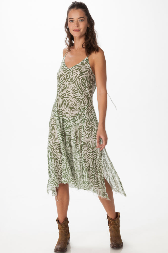 Printed Leaf Gauze Dress