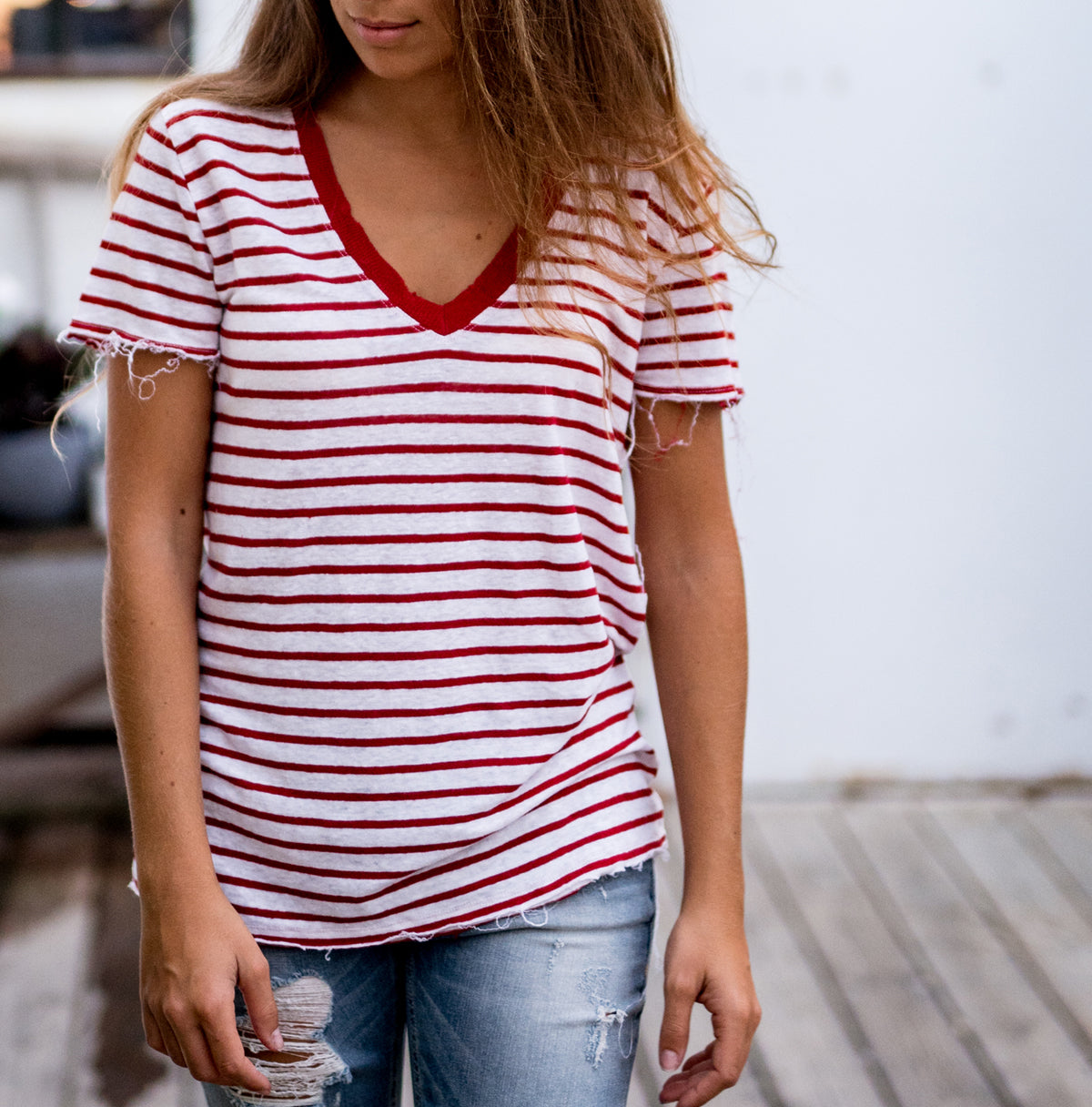 V Neck Stripe Linen Tee