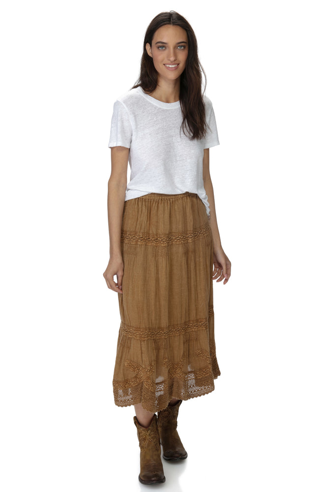 Coconut Ankle Length washed Laces Skirt