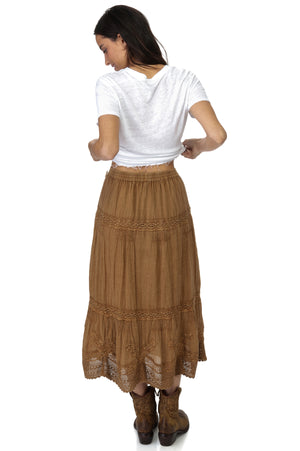 Load image into Gallery viewer, Coconut Ankle Length washed Laces Skirt