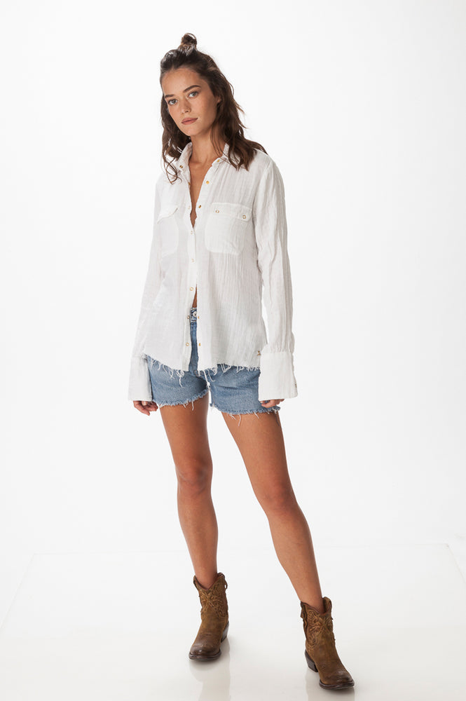 Load image into Gallery viewer, White Double  Gauze Shirt