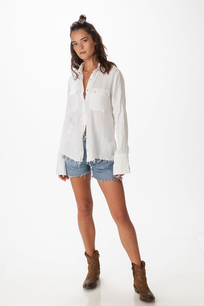White Double  Gauze Shirt