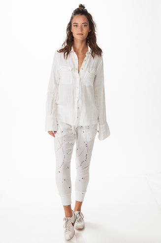 White Long Paint Stains Pants with Rib