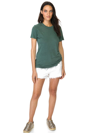 Load image into Gallery viewer, Green Crew Neck Linen T-Shirt