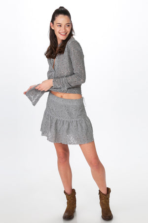Load image into Gallery viewer, Grey Lace Skirt