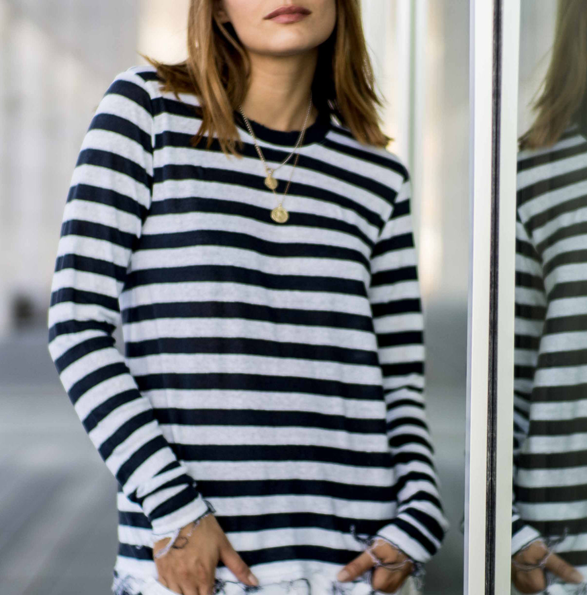 Navy/White Stripe Crew T-Shirt