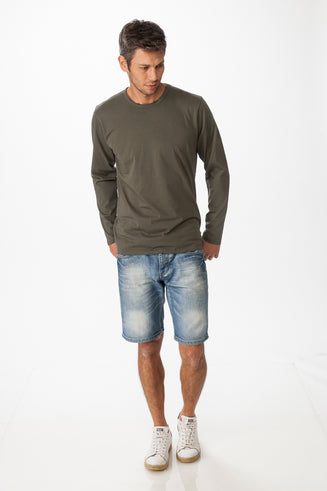 Men's Long Sleeves Cotton Crew Neck Tee