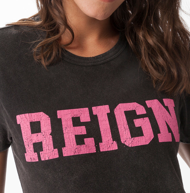 Crew Neck T - Black with Pink