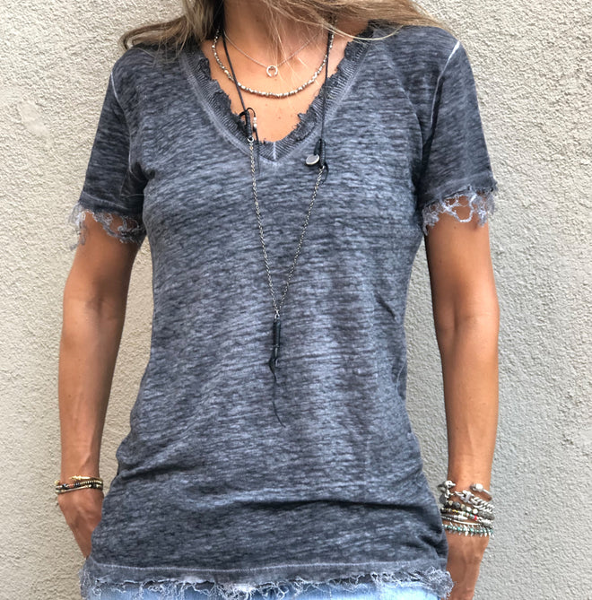 V-Neck Washed Dye Linen Short Sleeve Tee