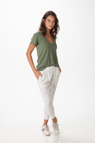 V Neck Cotton and Linen T