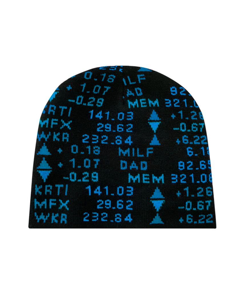 STOCK TICKER BEANIE - BLACK / AQUA