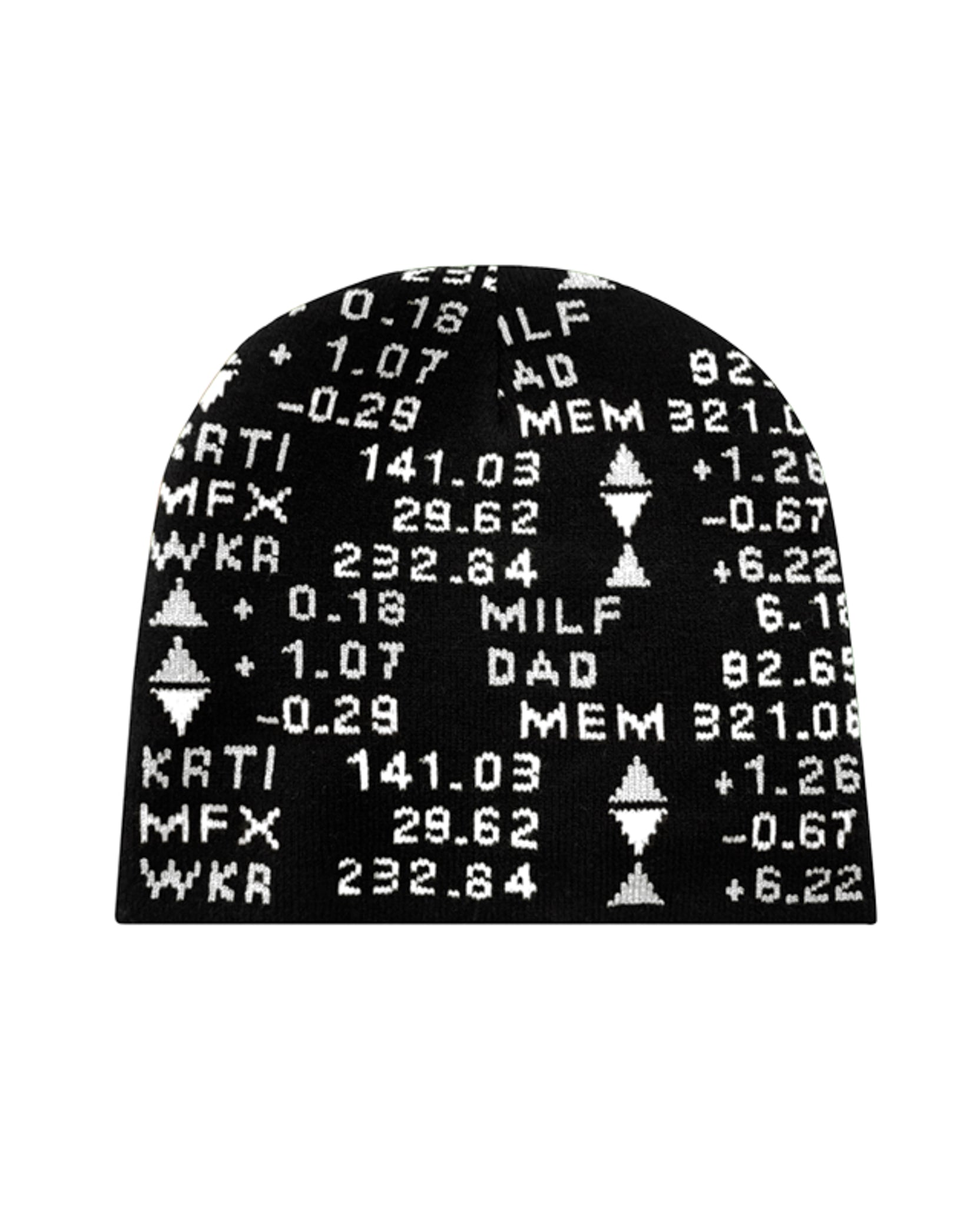 STOCK TICKER BEANIE - BLACK / WHITE