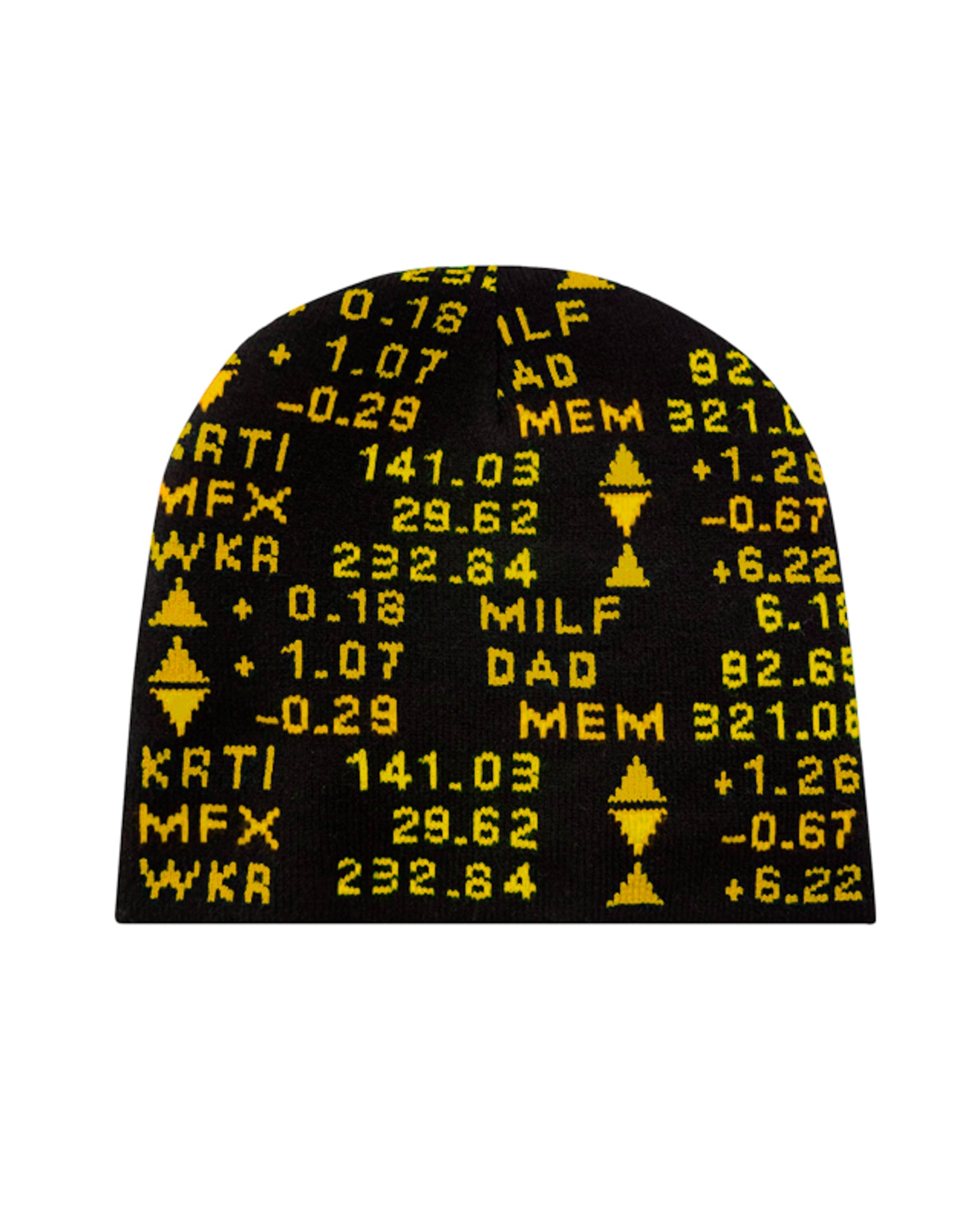 STOCK TICKER BEANIE - BLACK / YELLOW