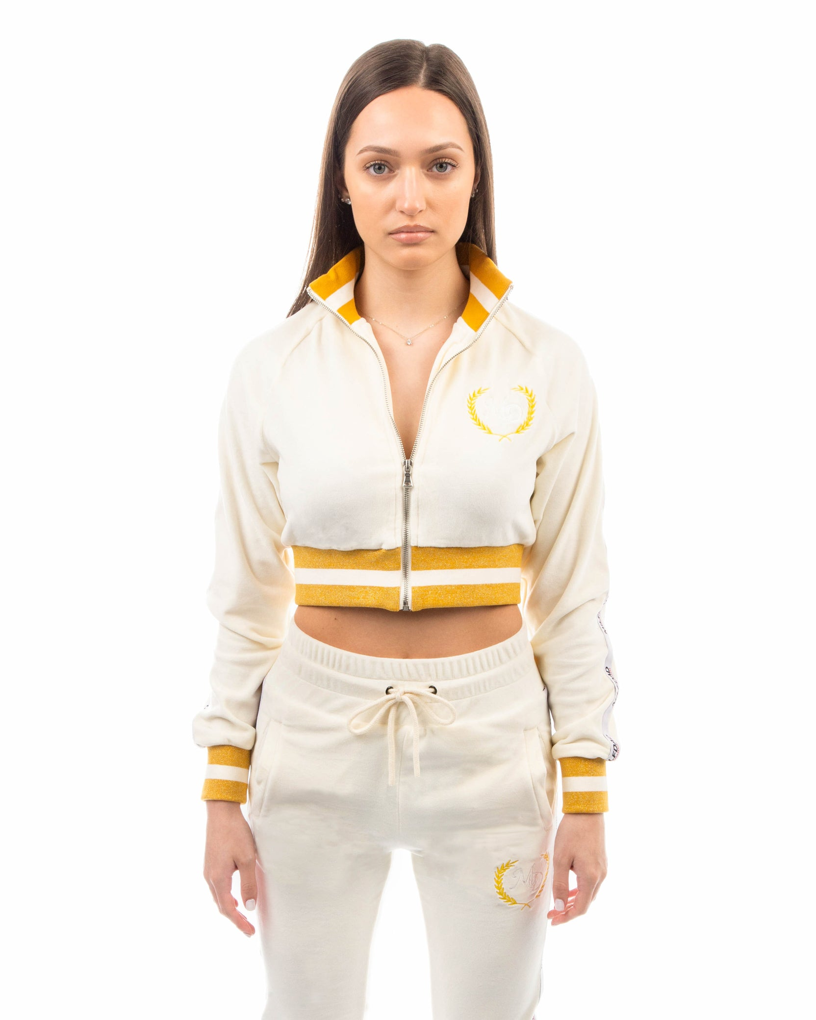 VELOUR CROPPED JACKET - CREAM / GOLD