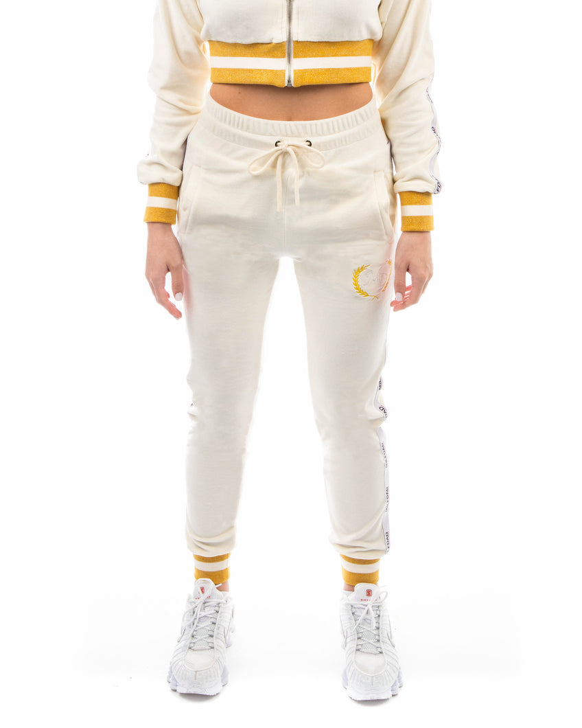 VELOUR PANT - CREAM / GOLD